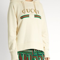 Logo-print cotton-jersey hooded sweatshirt | Gucci | MATCHESFASHION.COM US