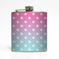 American Flag Whiskey Flask Made in USA Tiffany Blue Pink Stars Ombre United States Women Gift Stainless Steel 6 oz Liquor Hip Flask LC-1428