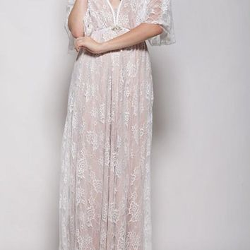 White Lace Draped Backless Bohemian Flowy Tulle Bridesmaid Summer Beach Maxi Dress