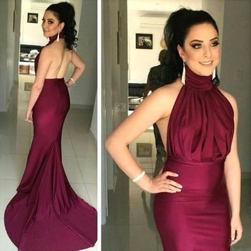 2016 Mermaid Prom Dresses Long Elegant Sexy Backless Evening Dress Fashion Party Formal Gown Custom Made