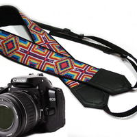 Ethnic Camera strap.  DSLR Camera Strap. Camera accessories.  Nikon Canon camera strap.