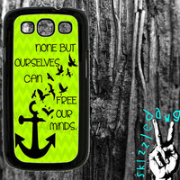 Green Chevron Anchor Quote Samsung Galaxy S3 Cell Phone Case Cover Original Trendy Stylish Design