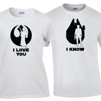 I Love You I Know Star Wars Quote his and hers Matching Couples Shirt Set.
