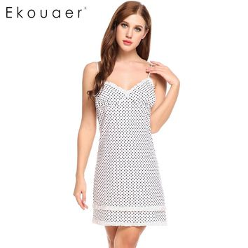 Ekouaer Polka Dot Sleepshirts Nightgown Women Sexy Spaghetti Strap Nightdress Lace Patchwork Lingerie Dress Summer Sleepwear