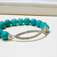 """Turquoise Blue Silver Rhinestone Fish Jesus Connector Elastic Bracelet, Fits up to 8.0"""" Christian Fish"""