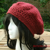 Hand Crocheted Hat -The Classic Slouch in Cranberry - Women's Hat -Spring, Summer, Fall Accessories