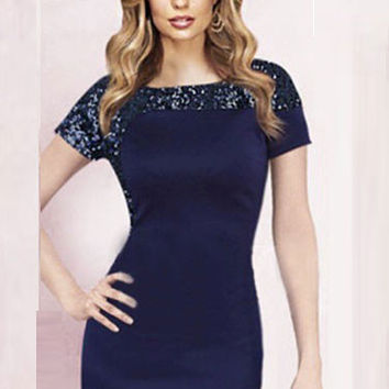 Dark Blue Sequined Short Sleeve Midi Bodycon Dress