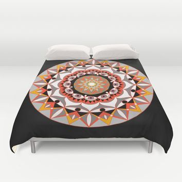 My Solar Plexus Mandhala | Secret Geometry | Energy Symbols Duvet Cover by Azima