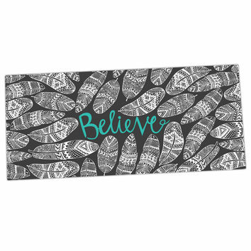 "Pom Graphic Design ""Believe In Yourself"" Dark Gray Desk Mat"