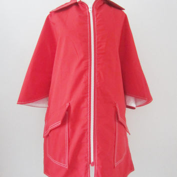 70s Red Rain Cape, one size // Waterproof Poncho // Vintage Little Red Riding Hood Raincoat w/ 3/4 Sleeves
