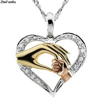 2018 new fashion family necklace hand in hand necklace heart shape necklace mother daughter son necklace gift