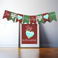 Printable Christmas banner, Holidaydecoration, party decor, x mas garland, Joy to the world bunting, merry christmas, sweater party decor
