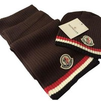 Fashion Moncler Beanies Knit Winter Casual Hat Cap Scarf Scarves Set Two-Piece G