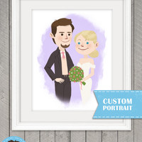 Custom Wedding Portrait, 8.5 x 11 print, Original Pet Portrait, With or without Pets, Cute Cartoon Style, Birthday, Couple, Affordable Art