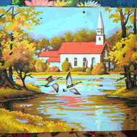 1960's Paint By Number, Church, Lake, Pond, Geese, Country Scene, Religious, Ducks, Lake