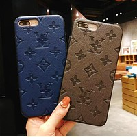 LV Fashion Chic Pure Color Soft Mobile Phone Cover Case For iphone 6 6s 6plus 6s-plus 7 7plus iPhone 8 8 Plus iPhone X(4-Color) I13848-1