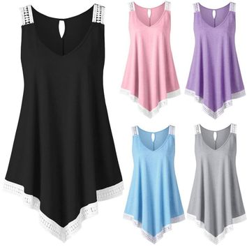 Swing Lace Asymmetrical Solid Vest Tank Tops Fashion Womens Casual V-neck  tank top fitness Plus Size new summer style hot sale