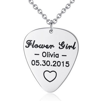 Engraved Initials Guitar Pick Necklace -Personalized Guitar Pick Necklace – Hand stamped Initials Name Guitar Pick Necklace