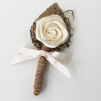 Set of 6 Ivory Flower Boutonniere Natural Eco Friendly Burlap Boutonniere