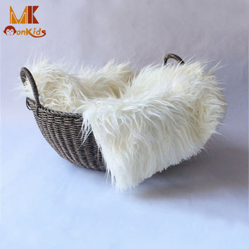 Monkids 2016 New Baby Swaddle Blanket Newborn Photography Props Basket Faux Fur Soft Blanket Fur Wool Mat Background Carpet