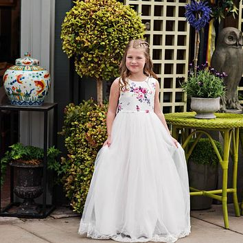 Sweet Rose Floral Lucinda Big Bow Gown Dress