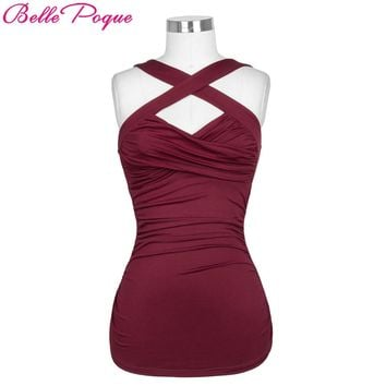Belle Poque Summer Tops 2018 Top Sexy femme T-shirts Fitness Tank Top Cami Cross Front Sleeveless Stretchy Women Pinup Vest Tops