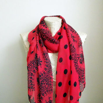 Lace Print Polka Dots Red Chiffon Navy Blue Scarf, Long Shawl Scarf Soft Fashion Scarf, Gift Handmade Accessories for Women