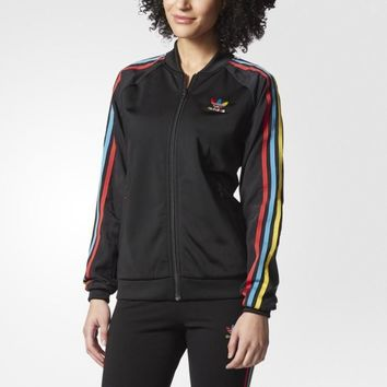 ADIDAS Embroidery Women Sport Stripe Cardigan Jacket Coat Sweatshirt