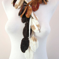 Woman  Accessories,Crochet Lariat Scarf,Scarf,Leaf Lariat Scarf