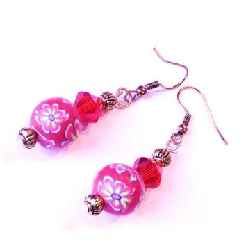 Orange red earrings flowers polymer clay with crystals