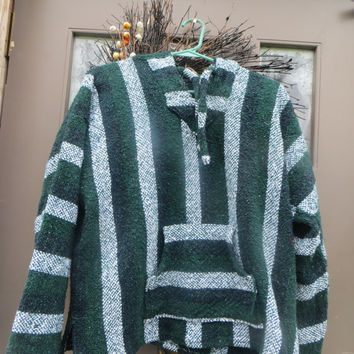 Mexican Baja Hoodie,  90s Drug Rug, Baja Hoodies, Mexican Hooded Baja, Baja Pullover, Hoodie teen/ womens / small men  sz large