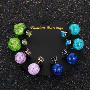 4 Pairs/set Female Punk Crackle Ball Bead Stud Earrings For Women Personalized Jewelry Girl Gift Double Sided Square Earring Set
