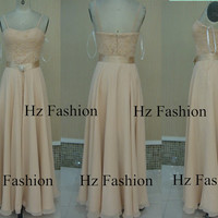 2014 Champagne long gown, formal dress, Strapless floor length prom dress