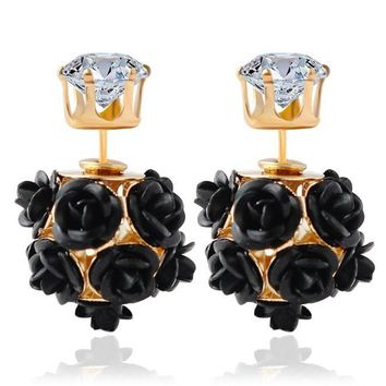 Flower Rose Women Girls Crystal Stud