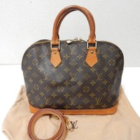 Auth Louis Vuitton Monogram Alma Bag Purse w/Strap VI0916 Browns GH Pre-Owned
