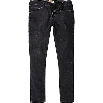 River Island MensBlack Danny distressed superskinny jeans
