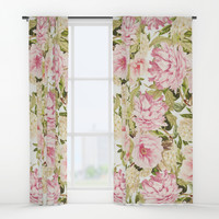 vintage peonies and hydrangeas Window Curtains by sylviacookphotography