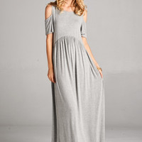 Open Shoulder Maxi Dress - Gray