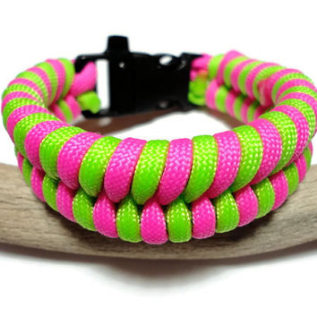 550 Paracord Survival Bracelet Neon Pink and Green Fishtail Weave Handmade USA Built in Safety Whistle For Security