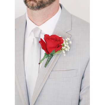 "Pack of 4 - Rose and Baby's Breath Boutonniere - 5"" Tall"