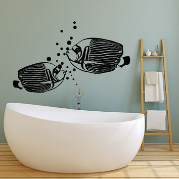 Vinyl Wall Decal Aquarium Fish Sea Ocean Style Water Bubbles Stickers (2650ig)