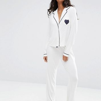 ASOS Traditional Jersey Long Sleeve Shirt & Long Leg Pajama Set at asos.com
