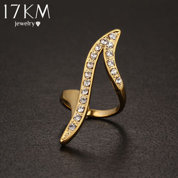 17KM 2016 New Vintage Punk Gold Color Crystal Ring Personality Wedding Rings For Women Jewelry Wedding Anel Anillos Bague