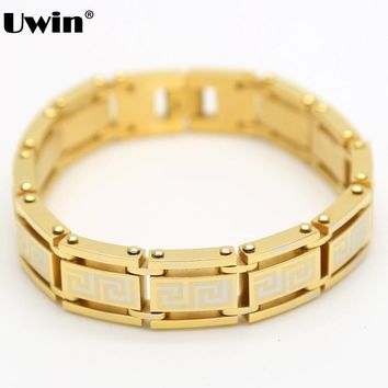 Fashion Hiphop Style Mens Stainless Gold Greek key Identifying Heavy 2016 New Arrival Hot Sale Chain Cuff Bracelet Wrist Band