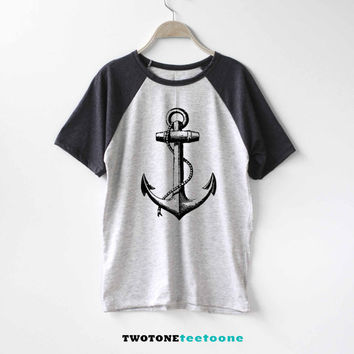 Anchor Shirt Baseball Raglan Shirt Tee TShirt