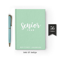 Senior Year Personalized Journal, Custom Writing Journal, Hardcover Notebook, High School, College Gift, Memory Book, Gift For Students