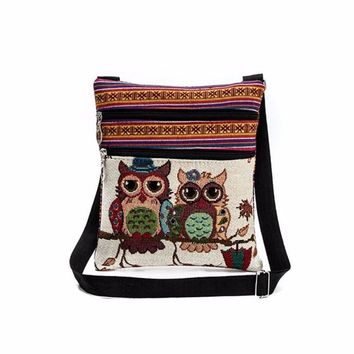 ISHOWTIENDA Embroidered Owl Postman Beauty Travel Cosmetic Bag