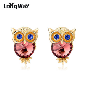 LongWay Brand Jewelry Crystal Owl Stud Earrings For Women Vintage Gold Plated Animal Statement Earrings Brincos Ser150084