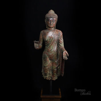 "Standing Buddha 36.5""Enlightened Bronze Abhaya Mudra Buddha Statue Wearing Ornate Robes Fine Lord Buddhist Sculpture"