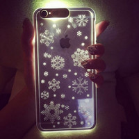 Personality Snowflake Circles Pattern LED Clear Luminous Aniti-knock  TPU Phone Case Cover for iPhone SE /5/ 6/ 6 plus
